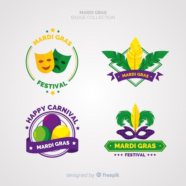 Mardi gras badge collection Free Vector