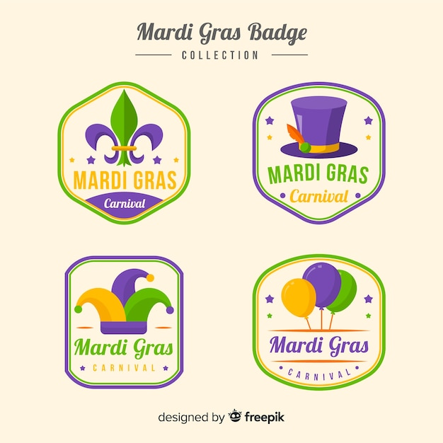 Mardi gras badge collection Free Vector