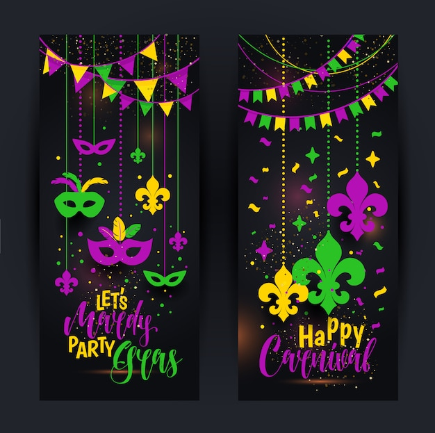 Mardi gras banners with a mask Premium Vector
