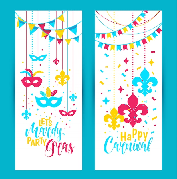 Mardi gras beads colored frame with a mask Premium Vector
