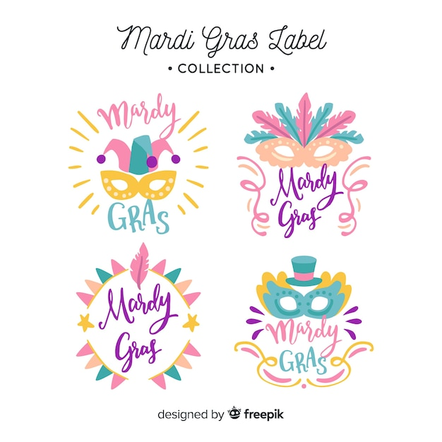 Mardi gras carnival badge collection Free Vector