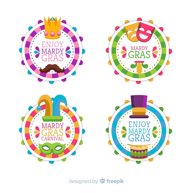 Mardi gras carnival badge collection Free Vector