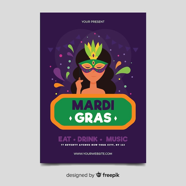 Mardi gras carnival flyer template Vector | Free Download