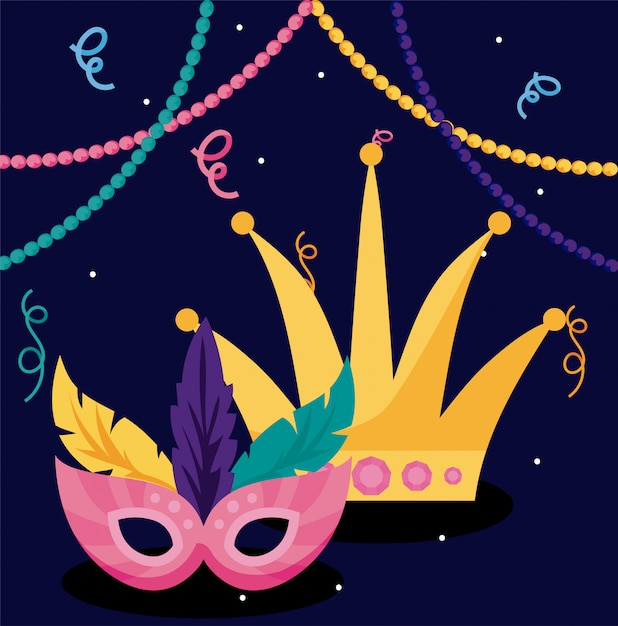 Mardi gras carnival mask and crown with necklaces Premium Vector