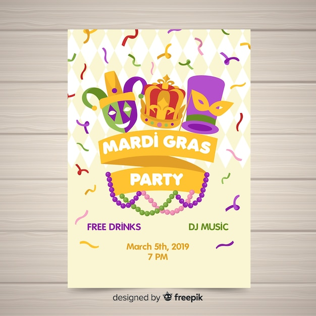 Mardi gras carnival party flyer template Free Vector