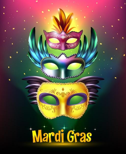 Mardi gras carnival poster Free Vector