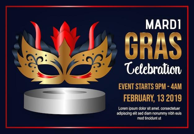 Mardi gras celebration background vector Premium Vector