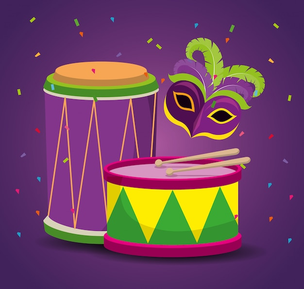Mardi gras celebration with party mask and drum Free Vector