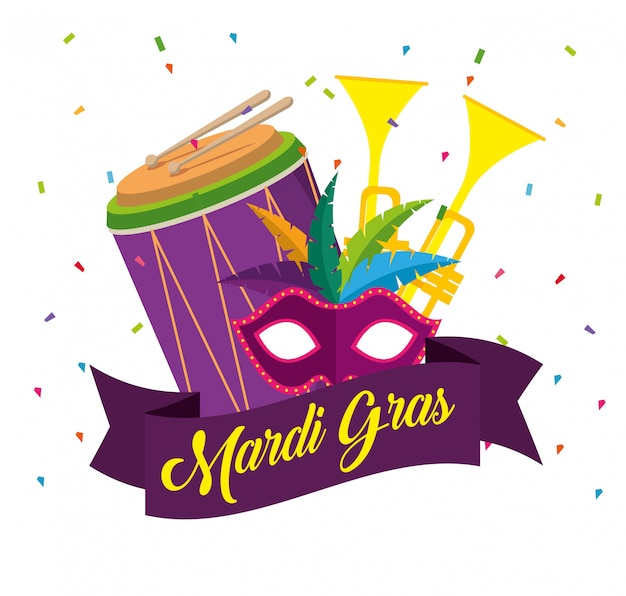 Mardi gras celebration with trumpets and drum Free Vector