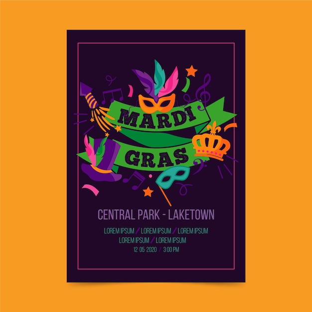 Mardi gras event with masks and ribbons flyer template Free Vector