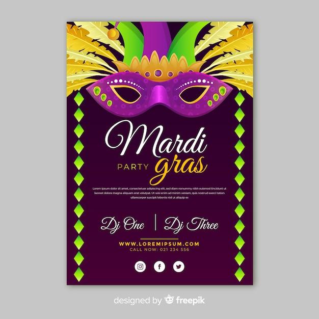 Mardi gras flyer template Free Vector