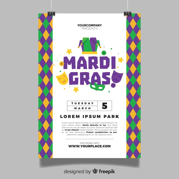 Mardi gras flyer template Free Vector