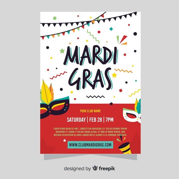 Mardi gras flyer Free Vector
