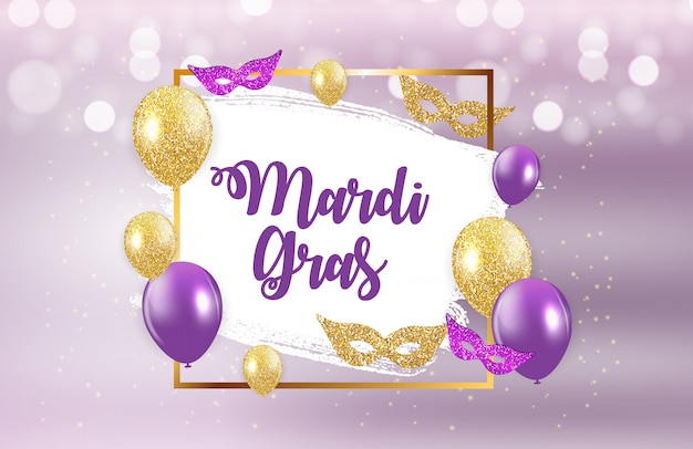 Mardi gras greeting card Premium Vector
