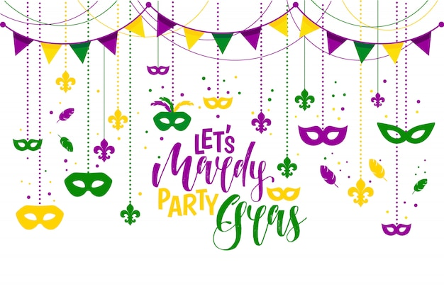 Mardi gras icons colored frame with a mask Premium Vector