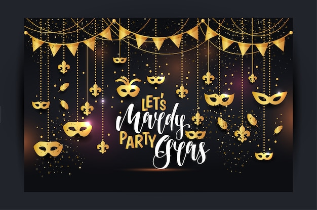 Mardi gras icons with a mask Premium Vector