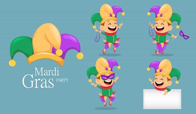Mardi gras jester, set Premium Vector
