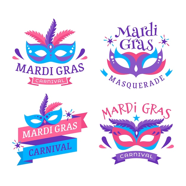 Mardi gras label collection design Free Vector