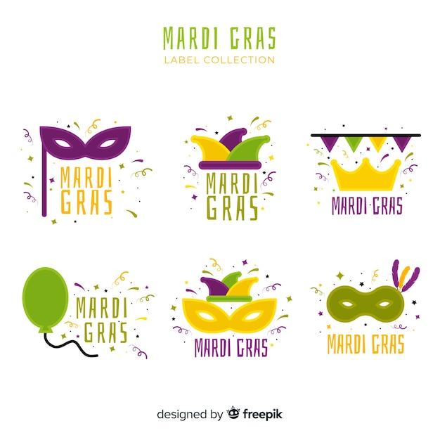 Mardi gras label collection Free Vector