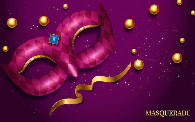 Mardi gras mask, colorful poster, template, flyer with place for text Premium Vector