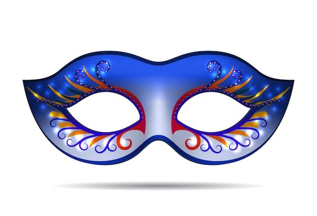 白で隔離されるマルディグラのマスク。 Premiumベクター