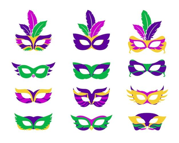 Маска марди гра, векторные маски марди гра, изолированные на белом Premium векторы
