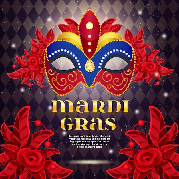 Mardi gras party bright poster Free Vector
