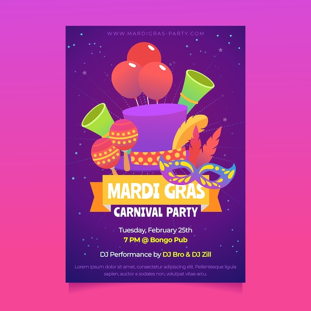 Mardi gras party poster flyer template Free Vector