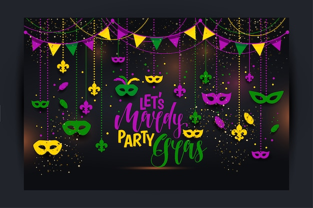 Mardi gras poster with a mask Premium Vector