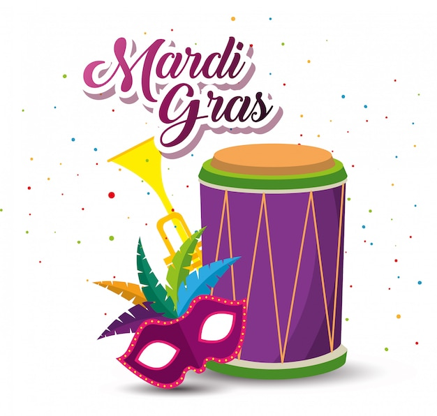 Mardi gras with drum and trumpet with mask Free Vector