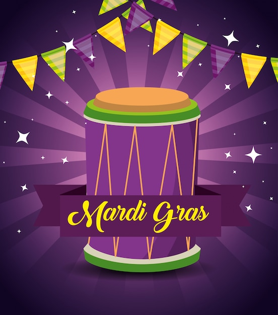 Mardi gras with party decoration and drum Free Vector