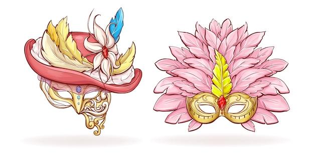 Роскошные мультипликационные маски для лица mardi gras Бесплатные векторы