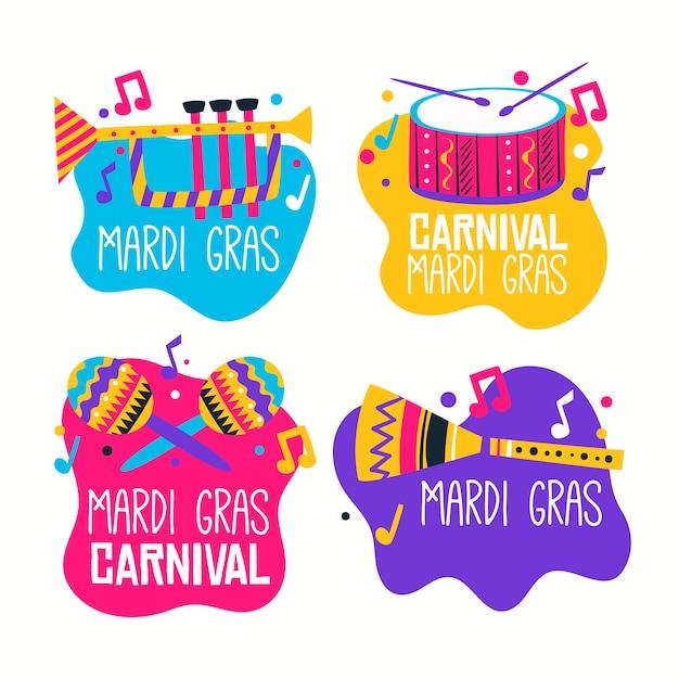 Коллекция лейбла mardi gras с музыкальными инструментами Бесплатные векторы