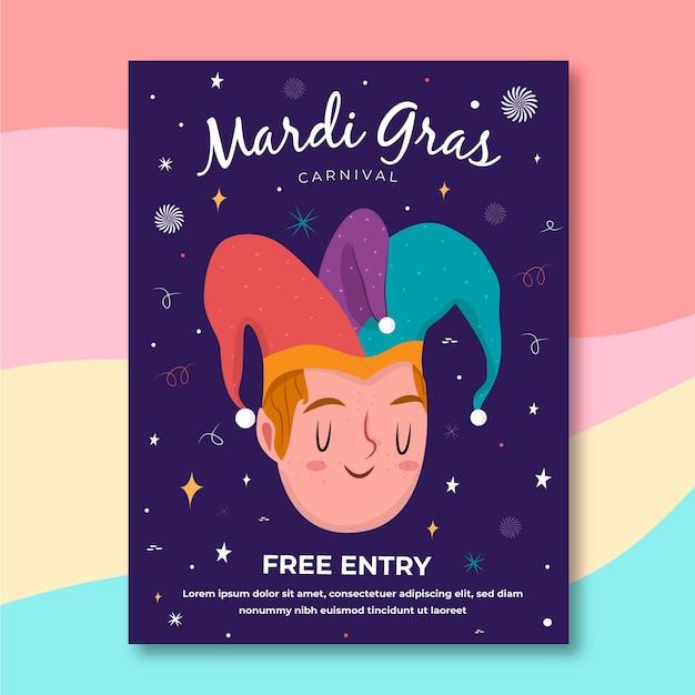 Mardi gras участник мальчик плакат рисованной Бесплатные векторы