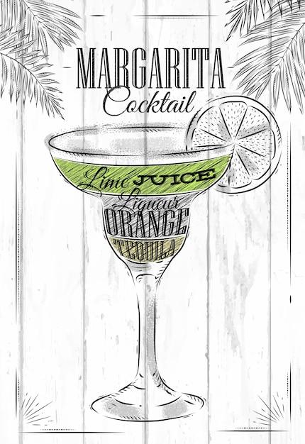Margarita cocktail Premium Vector