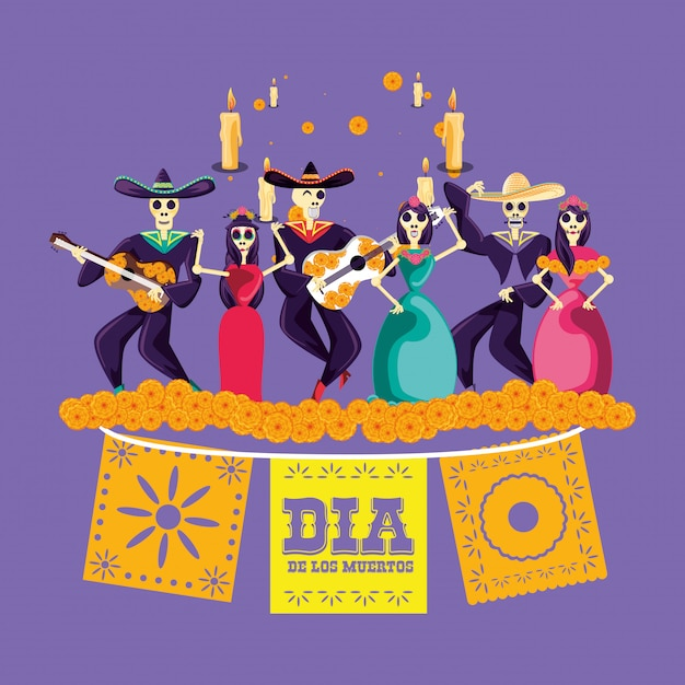 Mariachi and catrina skulls day of the dead party Premium Vector