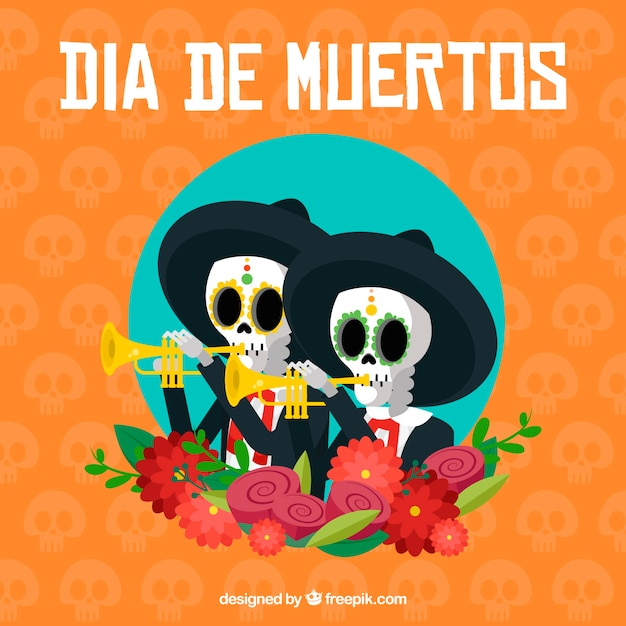 Mariachis background celebrating the day of the dead