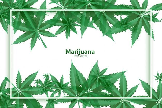 マリファナと大麻の緑の葉の背景デザイン 無料ベクター