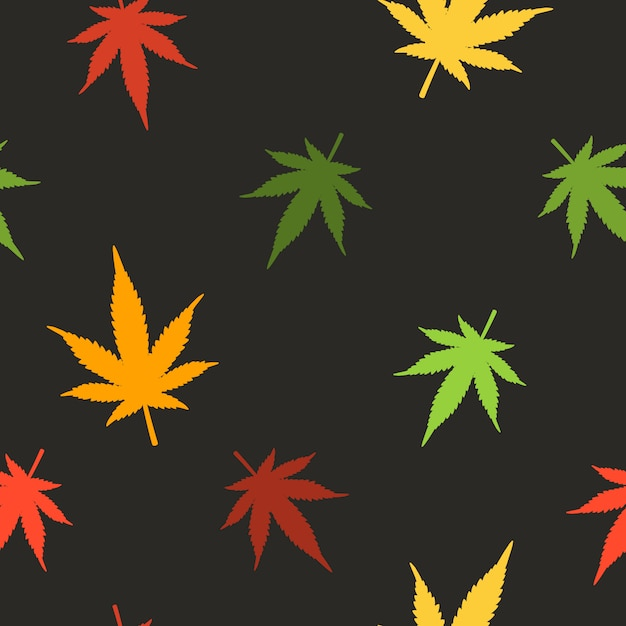 マリファナの葉のシームレスなパターン。大麻のシームレスなパターン。マリファナの葉のパターン。 Premiumベクター