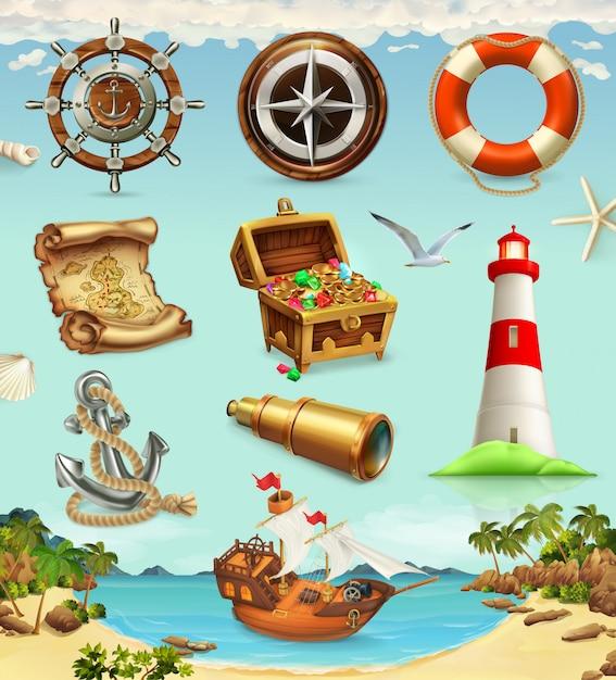 해양 모험, 게임 세트, 여름 휴가 프리미엄 벡터