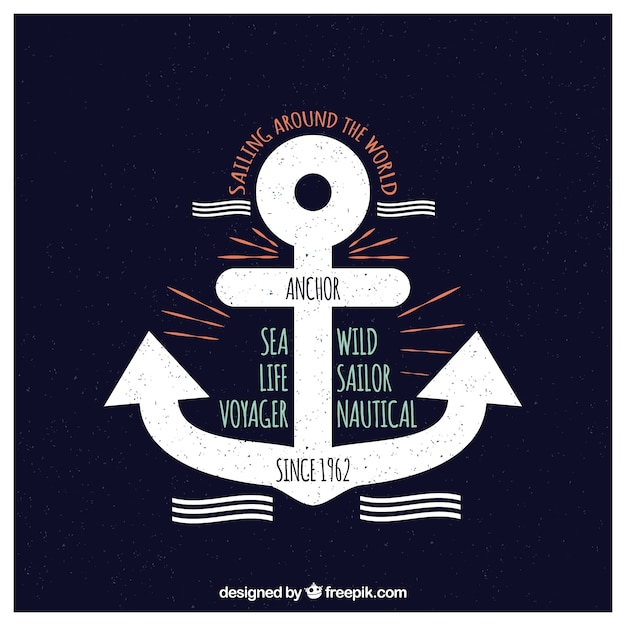 Marine anchors and sea messages cards Free Vector