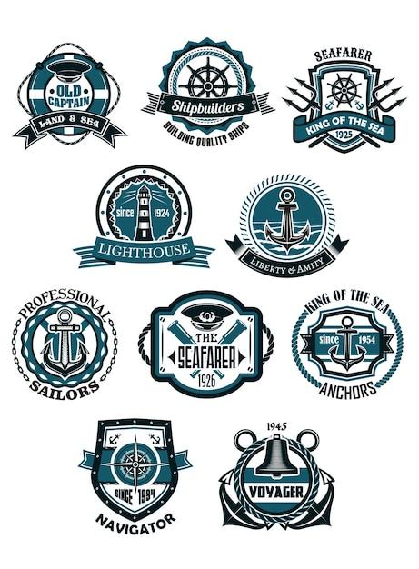レトロなスタイルの海洋および航海の紋章のエンブレムまたはアイコン Premiumベクター