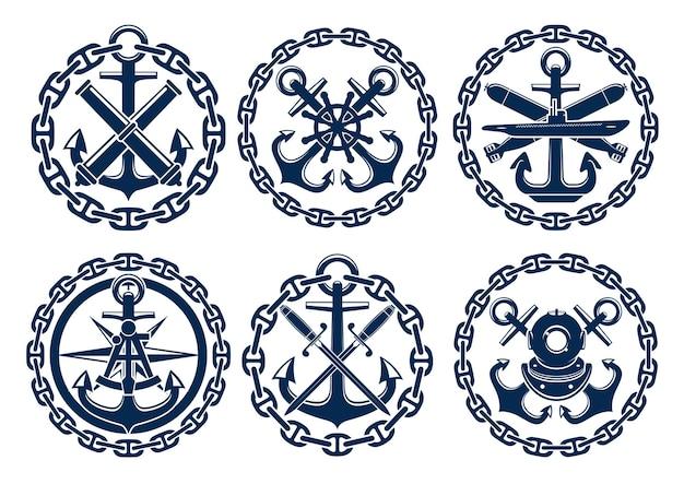 海洋および航海のロゴ Premiumベクター