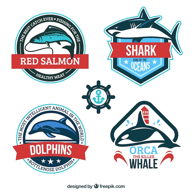 Marine animal badges Premium Vector