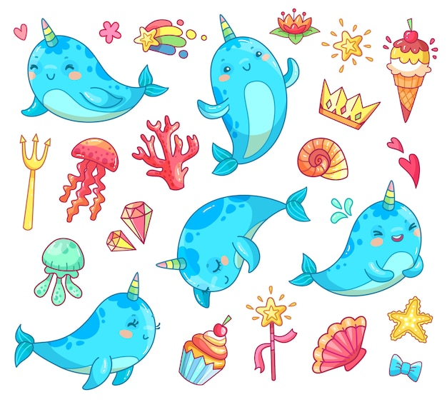Marine animal kawaii character baby fairytale unicorn narwhal. Premium Vector