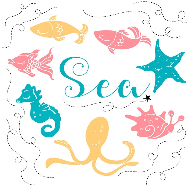 Marine animals background Premium Vector