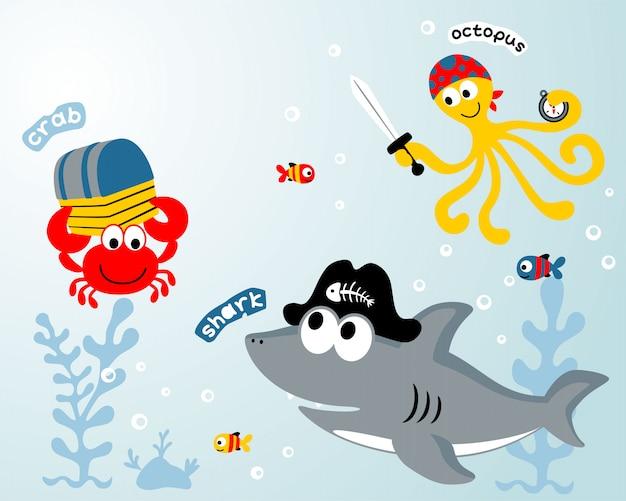 Marine animals cartoon Premium Vector