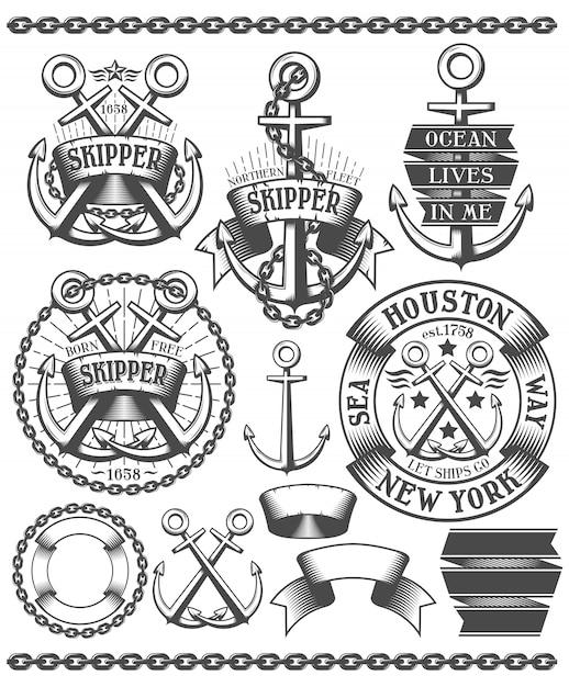 Marine badge and logo set Premium Vector