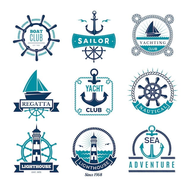 Marine labels. nautical logo sailing boats rope and marine knot framed badges Premium Vector