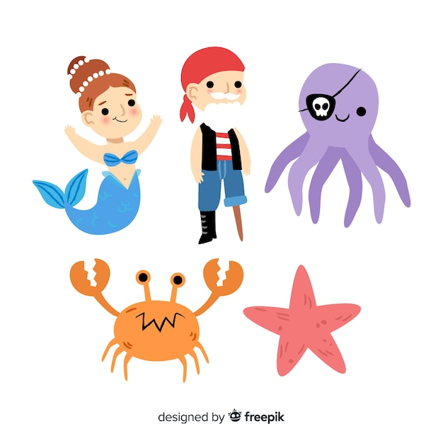 Marine life character collection Free Vector